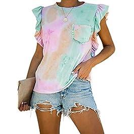 Lovezesent Womens Summer Sleeveless Ruffle Tank Tops Casual Printed T Shirts Blouses