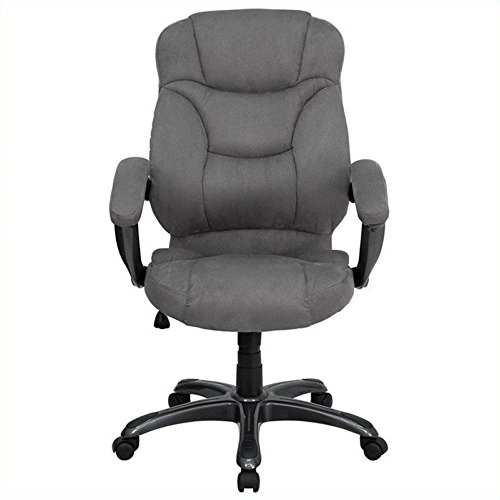 Flash Furniture High Back Gray Microfiber Contemporary Executive Swivel Chair with Arms
