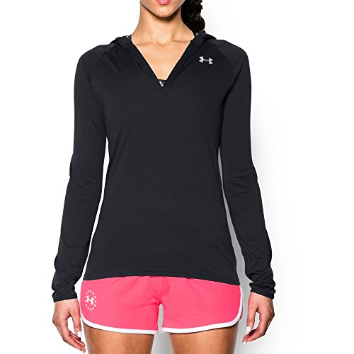 Under Armour Women's Tech Long Sleeve Hoodie, Black (001)/Metallic Silver, - Tech Under Fleece Armour