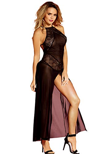 SUNSPICE Sexy Sheer Black Shining Mesh Long Nightgown Deep-V Gown Dress for Women (Black-2, one Size)