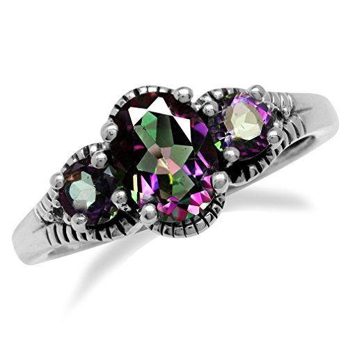 1.34ct. 3-Stone Mystic Fire Topaz 925 Sterling Silver w/Antique Finishing Ring Size ()