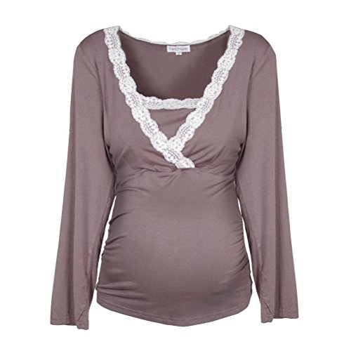 estate pigiama donna per righe bianco da Taupe strisce per Herzmutter allattamento leggero blu Pigiama la marittime lunghe maniche primavera grigio pigiama a 2100 qStfwEOE