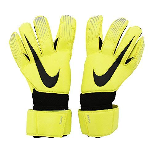 (NIKE Grip3 Soccer Goalkeeper Gloves (Volt/Black) (10))