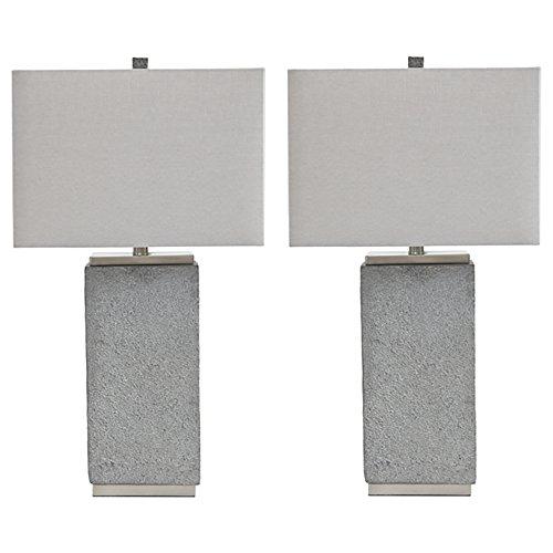 Ashley Furniture Signature Design - Amergin Table Lamps - Set of 2 - Faux Concrete - Urban Chic - Grain (Table Lamp Concrete)