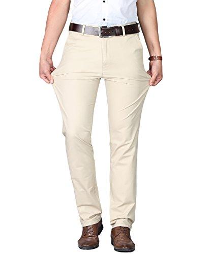 uomo giallo Pantaloni senza dritti unita tinta Allthemen chiaro elastico Casual pX6qwT