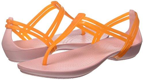Crocs Women's Isabella T-Strap Flip Flop, Active Orange/Petal Pink, 5 M US by Crocs (Image #5)