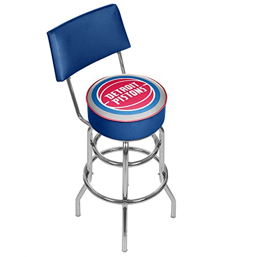 NBA Detroit Pistons Padded Swivel Bar Stool with Back by Trademark Gameroom