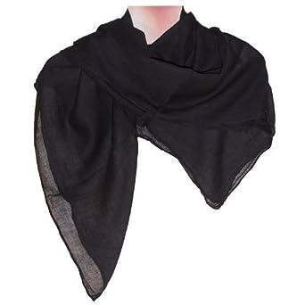 8a6c1be0ad6 indischerbasar.de Foulard noir uni en coton 100x100cm Carré Cache-col  Accessoire de mode