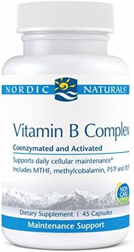 Nordic Naturals Pro Vitamin B Complex-Thiamine, Riboflavin, Niacin, Vitamin B6, Folate, Vitamin B12, Biotin, Pantothenic Acid, Coenzymated Support for Daily Cellular Maintenance*, 45 Capsules