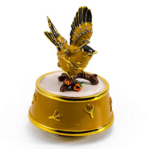 Jeweled Gold Finch Bird with Yellow and Gold Accents Rotating Musical Keepsake - Over 400 Song Choices - Wind Beneath My Wings - Jeweled Fairy Wings Princess