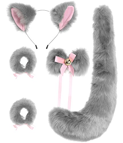 JustinCostume Fox Cosplay Set Tail Ears Neckwear Bracelet (Gray2) -