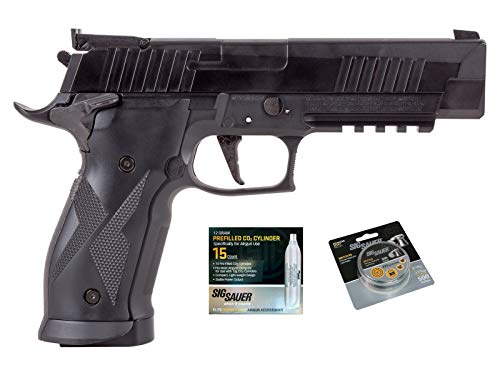 SIG Sauer X-Five Air Pistol with CO2 12 Gram (15 Pack) and 500 Lead Pellets Bundle (Black)