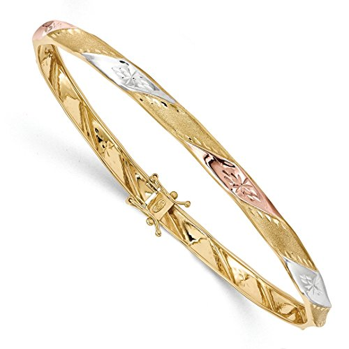 ICE CARATS 14kt Yellow Gold White Rose Flex Bangle Bracelet Cuff Expandable Stackable Flexible Fine Jewelry Ideal Gifts For Women Gift Set From - Yellow Ice Gold Bangles