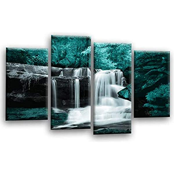 WATERFALL CANVAS WALL ART Picture Print Teal Grey Black White Split Panel