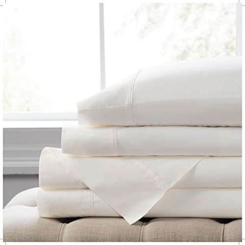 """Piece Home Spa 4 Collection (Elizabeth Arden Light-Weight 100% Long-Staple Cotton Percale 4-Piece Sheet Set - Natural Pure 300 Thread Count – Crisp & Cool – Deep Fitted Pocket Fits Mattress up to 18"""" - California King - White)"""