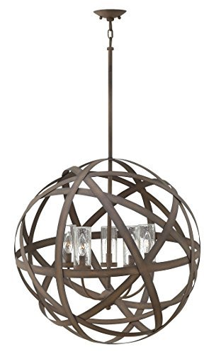 Hinkley 29705VI Contemporary Modern Five Light Outdoor Chandelier from Carson collection in Bronze/Darkfinish,