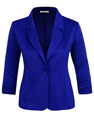 Michel Women's Basic Collar Blazer 3/4 Crunched Sleeve Button Closure Jacket RoyalBlue X-Large