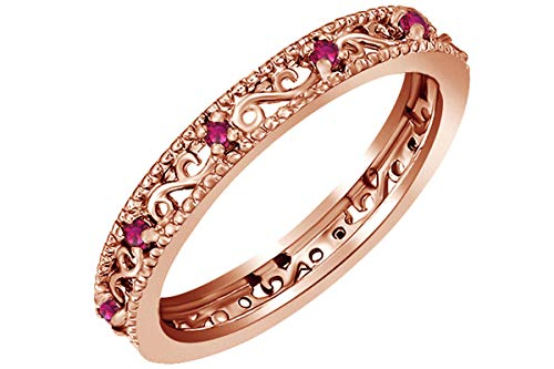 Jewel Zone US Round Cut Simulated Red Ruby Stackable Ring in 14K Rose Gold Over Sterling Silver