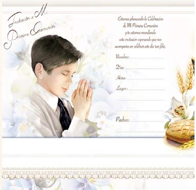 DPW First Communion Primera Comunion Party Invitations Spanish Invitaciones Jesus Boy Fiesta 10PC