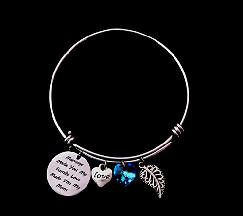 """Marriage Made You My Family Love Made You My Mom"" Charm Adjustable Wire Bangle Bracelet with Blue Love Heart Crystal Stone"