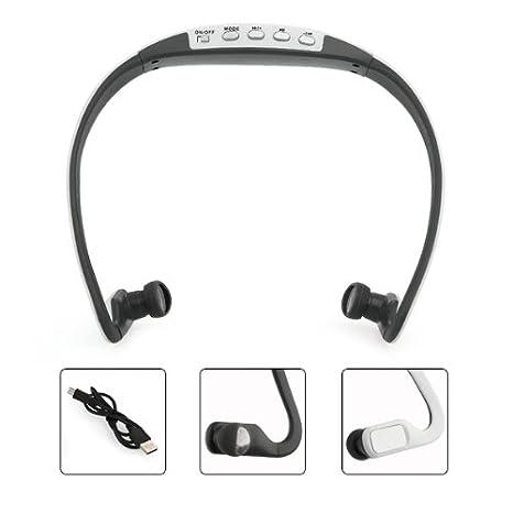 Cascos Auriculares Deporte Reproductor MP3 Inalámbrico Tarjeta TF FM Blanco: Amazon.es: Electrónica