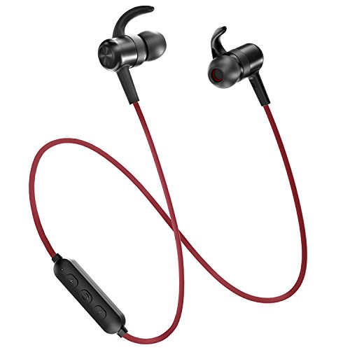 Bluetooth Headphones TaoTronics Wireless Earbuds Sport Earphones 9 Hours 4.2 Magnetic Lightweight & Fast Pairing (cVc 6.0 Noise Cancelling Mic, Snug Silicon Earbuds, Magnetic Design) Red