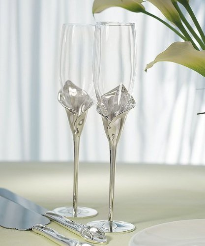 (Calla Lily Toasting Flutes with Silver Plated Stem and Glass Flute )