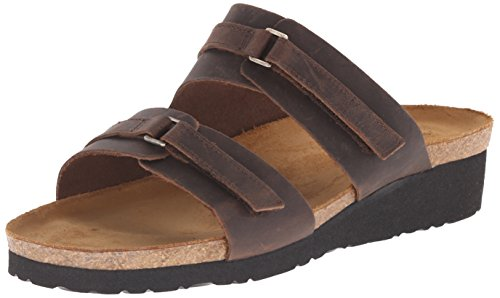 Naot Women's Carly Wedge Sandal, Crazy Horse Leather, 38 EU/6.5-7 M US by NAOT
