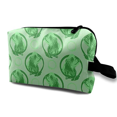 Funny 3D Printing women cosmetic bag Collared Cocker Spaniel Portraits - Green_871 Travel Makeup Bags 4.9 x 6.3 x 10 inch