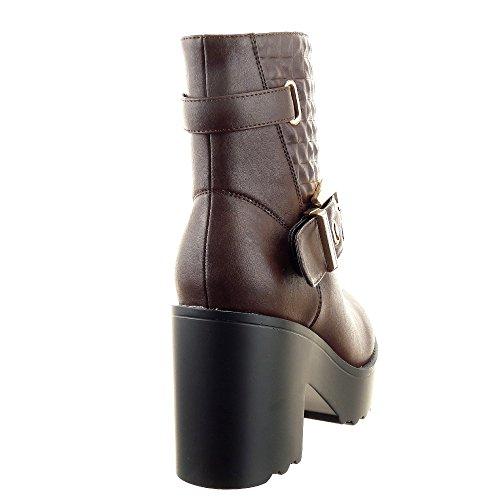 Sopily - Scarpe da Moda Stivaletti - Scarponcini Cavalier alla caviglia donna trapuntata fibbia 9.5 CM - soletta sintetico - foderato di pelliccia - Marrone