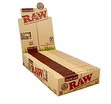 Papel de Fumar Orgánico de Cáñamo Marca Raw - Tamaño 1 1/4 - Caja Completa de 24 Librillos: Amazon.es: Hogar