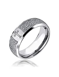 Etched Irish Celtic Knot Maltase Cross Couples Wedding Band Tungsten Rings for Men for Women Matte Silver Tone 8MM