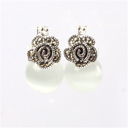 GEM-inside 12mm Round White Cat Eye Beads Tibetan Silver Marcasite Flower Earrings Jewelry (Flower White Cats Eye)