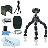 Accessory Kit For Kodak PlaySport (Zx3) HD Waterproof Pocket Video Camera Includes 7-Inch Spider Flexible Tripod + Case, Mini Tripod, Neck Strap, Memory Card Wallet, Screen Protectors + More