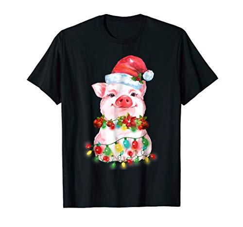 Pink Santa Pig Ornaments Hat Christmas Led Lights T-Shirt