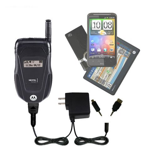 Gomadic Double Wall AC Home Charger suitable for the Motorola ic502 - Charge up to 2 devices at the same time with TipExchange (Ic502 Car Charger)