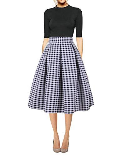 Hanlolo Women's Check Skirts Midi Pleated Flared Knee Length A Line Skirt