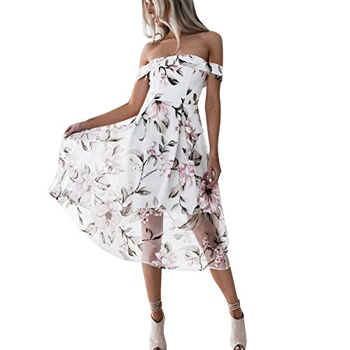 Goddessvan Women's Summer Off Shoulder Floral Printed Long Maxi Dress (M, Pink) (Strappy Shoulder Dress)