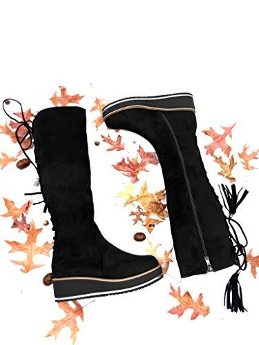 Mode Noir Talon Lacets Botte Chaussure 5 Cavalier Frange Fourrée Strass Intérieur Femme Plateforme Cm Compensé Diamant 4 Motard Angkorly 5qpUwzz
