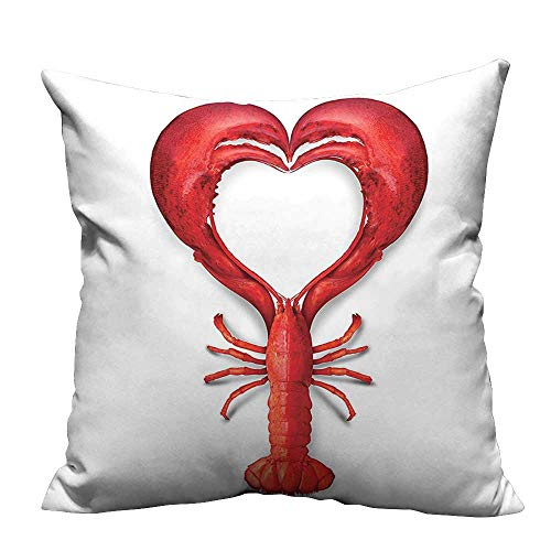 YouXianHome Zippered Pillow Covers A Boiled Lobster Shaped as A Heart Symbol Fish Dinner Seafood Love Decorative Couch(Double-Sided Printing) 27.5x27.5 inch