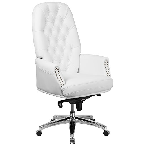 Flash Furniture High Back Traditional Tufted White Leather Multifunction Executive Swivel Chair with Arms - White Leather Furniture
