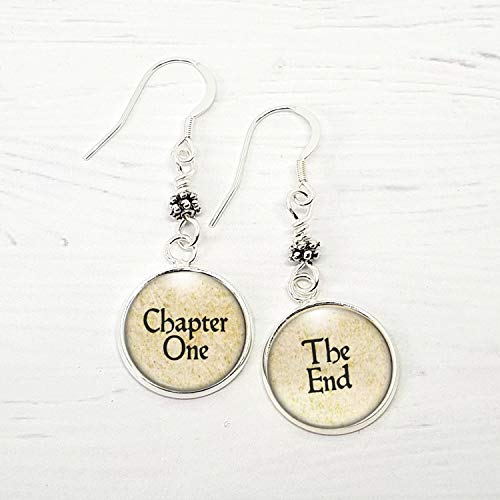 - Book Lover Chapter One and The End Earrings, Silver Dangles Literary Gift
