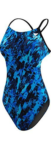 TYR Women's Glisade Cutoutfit Swimsuit, Blue, Size