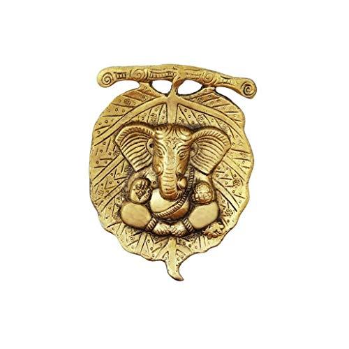 Handicrafts Paradise Wall Hanging Ganesha Antique Golden Finish in Metal