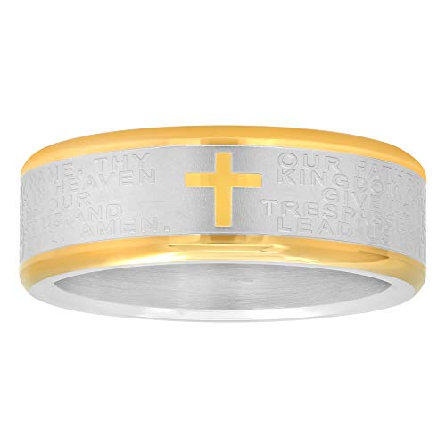 STEEL NATION JEWELRY Silver and Gold Two-Tone Stainless Steel Ring Wedding Band w/Cross and Bible Lord's Prayer