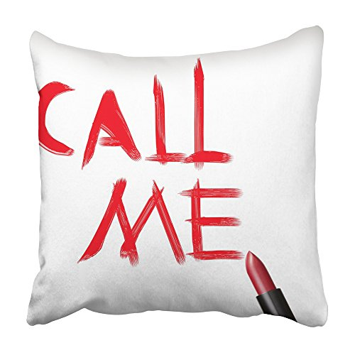 Emvency Decorative Throw Pillow Covers Cases Red Affection Close up Lipstick Inscription Call Me on White Beautify Beauty Black Color 16x16 inches Pillowcases Case Cover Cushion Two Sided ()