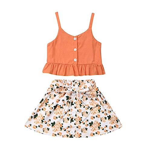 - Newborn Baby Girl Short Tops Tanks+Hawaiian Luau Dress Girls Skirts Toddler Outfit Summer Clothes Set (Orange, 5-6 Years)