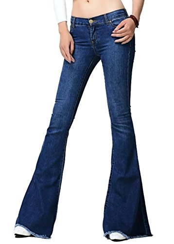 Chartou Women's Asymmetric Tassel Flared Slit Ripped Jeans Denim Pants (Large, Navy Blue)