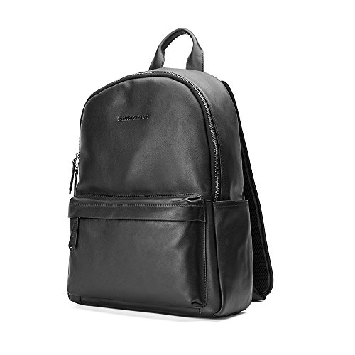 Sharkborough Men s Backpack Genuine Leather Travel Bag Extra Capacity  Casual Daypacks (Black - Small Size d27062f28231