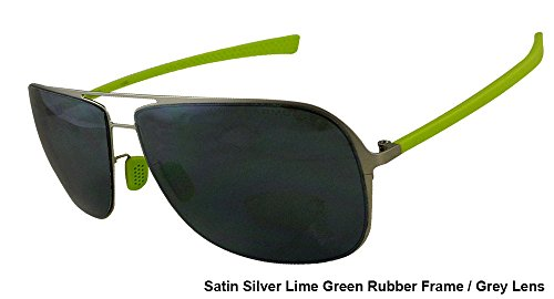 Under Armour Alloy Satin Silver Frame, with Lime Green Rubber and Gray Multiflection Lens